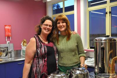 Margaret and Fiona making tea at the Hook, Line and Sinker film fundraiser